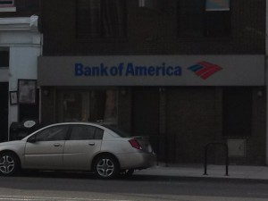 The Bank of America branch across the street from the building